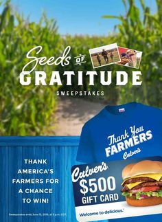 Help us show appreciation for America's farm families for a chance to win T-shirts, mugs and the grand prize, a $500 Culver's Gift Card! Enter daily.