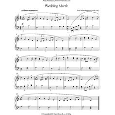 Mendelssohn Wedding March sheet music for Piano ❤ liked on Polyvore featuring home, home decor and music sheet