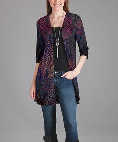 Look at this Purple & Black Geometric Three-Quarter Sleeve Cardigan on #zulily today!