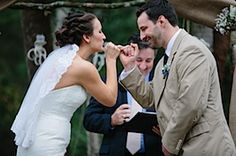 A nontraditional wedding ceremony: wedding vows sealed with a pinky promise and readings are funny poems