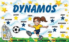 Dynamos B52976  digitally printed vinyl soccer sports team banner. Made in the USA and shipped fast by BannersUSA.  You can easily create a similar banner using our Live Designer where you can manipulate ALL of the elements of ANY template.  You can change colors, add/change/remove text and graphics and resize the elements of your design, making it completely your own creation.