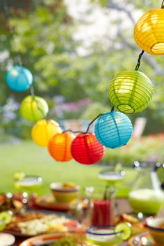 Hang up colorful string lights for an instant party