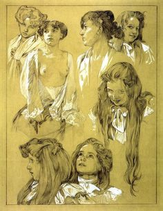Alphonse Mucha (Czech,1860-1939) Selected Sketch Of Women's Heads