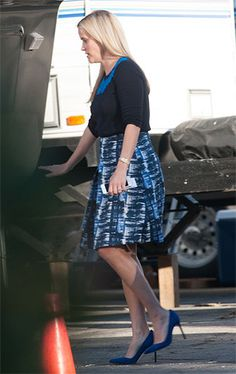 Reese Witherspoon spotted on the set of 'Big Little Lies' on January 13, 2016, wearing an Oscar De La Renta Inverted Pleat A-line Skirt http://api.shopstyle.com/action/apiVisitRetailer?id=506579011&pid=uid7729-3100527-84. #style #celebstyle
