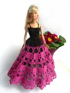 Barbie doll dress in red and white - crocheted doily dress for fashion dolls… Barbie Patterns, Doll Clothes Patterns, Dress Patterns, Crochet Patterns, Crochet Doll Dress, Crochet Barbie Clothes, Barbie Gowns, Barbie Dress, Barbie Doll