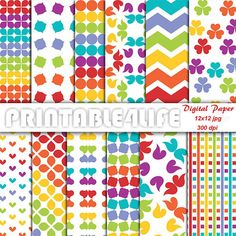 Colorful Digital Paper Pack Rainbow background by printable4life