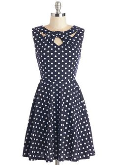 Love You Dots Dress. Pamper yourself with pretty panache by wearing this polka-dotted dress for date night! #gold #prom #modcloth