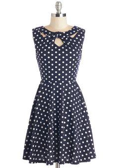 Love You Dots Dress - Blue, White, Polka Dots, Print, Cutout, Casual, A-line, Sleeveless, Knit, Good, Mid-length