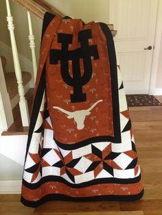 University of Texas Quilt Football Quilt, Ut Football, Texas Longhorns Football, Ut Longhorns, Log Cabin Quilt Pattern, Quilt Block Patterns, Pattern Blocks, Quilt Blocks, Texas Quilt