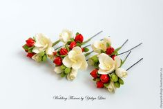 Купить Цветы из полимерной глины для свадебной прически - свадебные аксессуары, свадебное украшение, свадебные цветы