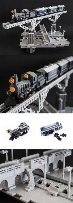 elevated train tracks LEGO vignette by 'Galaktek'