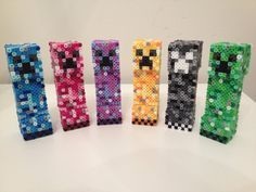Minecraft Colored Creepers perler beads by RetroNinNin on deviantART Perler Bead Designs, Hama Beads Design, Diy Perler Beads, Pearler Bead Patterns, Perler Bead Art, Perler Patterns, Minecraft Toys, Hama Beads Minecraft, Minecraft Crafts