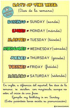 ESTA FICHA TE AYUDARÁ a aprender los días de la semana en inglés, a saber cómo se escriben y a saber pronunciarlos correctamente,...