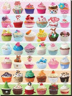 2 Packs 100 Pieces Sweets 3D Puzzle With 3D Glasses Cupcakes