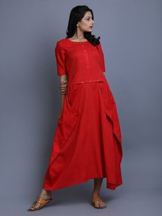 f6be240eb Red Cotton Linen Dress Red Kurti, Linen Tunic, Cotton Linen, Simple Tunic,