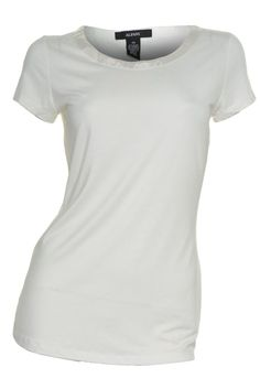 Alfani Ribbon Scoop Neck Top XS Tee Cap Sleeve Shirt Ivory Soft Stretch NEW #Alfani #KnitTop #Casual