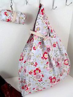 Reusable Grocery Bag w/ Sakura Floral Print on Grey, belt and hook | reusable bag, reusable shopping bag, washable and durable, shopping bag