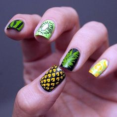 Sublime Fresh Fruit Theme Nail Arts Ideas That Can Inspire You Nail art or commonly called nail polish techniques with nails, many women want to be able to look beautiful. Nail art is the art of painting nails by . Tropical Nail Designs, Fruit Nail Designs, Tropical Nail Art, Nail Polish Designs, Nail Art Designs, Nails Design, Gel Polish, Nail Art Hacks, Easy Nail Art