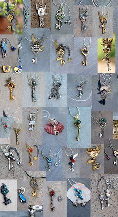 DIY Jewelry Tutorial: How to Make a Necklace with a Skeleton Key and Beads Key Jewelry, Jewelry Art, Beaded Jewelry, Jewelry Design, Jewelry Making, Jewelry Ideas, Jewellery, Old Key Crafts, Ideas Joyería