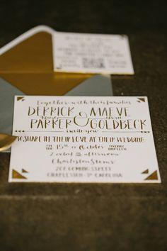 Charity-Inspired Wedding Ideas from CarolineRo Photography. Art Deco Invitations, Gold Wedding Invitations, Invitation Paper, Elegant Invitations, Wedding Stationary, Invitation Ideas, Invites, Gatsby Wedding, Art Deco Wedding