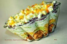 Super przepis na sałatkę drobiową z tzatziki. Healthy Salad Recipes, Meat Recipes, Cooking Recipes, Tzatziki, Appetizer Salads, Polish Recipes, Creative Food, Us Foods, I Love Food