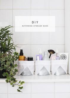 DIY bathroom bucket bags | the lovely drawer