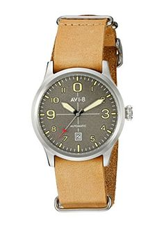Men's Wrist Watches - AVI8 Mens AV402107 Flyboy Analog Display Japanese Automatic Beige Watch -- Click on the image for additional details.
