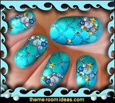 nail art ocean themed nails-nail design-ocean themed decorative nail studs