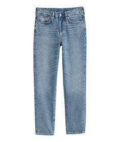 Light blue denim. 5-pocket, ankle-length jeans in washed denim. Slightly looser fit with a high waist, button fly, and straight legs.