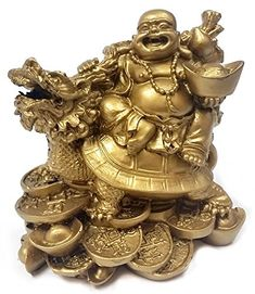 Golden Turtle with Happy Buddha Laughing Buddha Feng Shui for Double Money and Wealths >>> More info could be found at the image url.