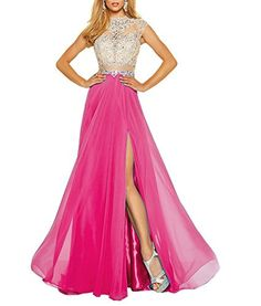 Tdress Women's Prom Dresses Tulle and Chiffon Scoop A Line Beaded Bodice with Slit Size 22W US Fuchsia. Dress Fabric: Chiffon & Tulle. Dress Style: Scoop, A Line, Beaded, Bodice, Slit, Floor Length. This dress is vintage, elegant and sexy, and it is suitable for prom, evening party or other formal occasions. Please refer to our size chart on the left and choose the right size for yourself. For Tdress dress, making dress needs about 10-15 business days, expedited shipping time to the USA...