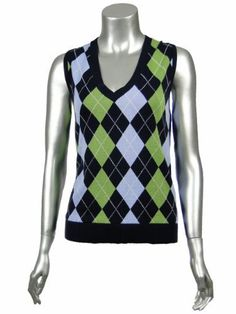 Tommy Hilfiger Women's Argyle Sweater Vest Misses Large Green Blue