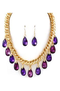 Crystal Dakota Necklace in Amethyst and Aubergine on Emma Stine Limited