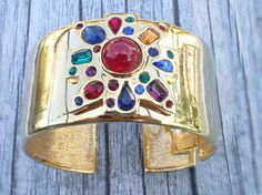 Signed Kenneth Lane hinged cuff bracelet with colorful
