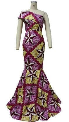 Dashiki ankara wax African print long elegant back out prom, wedding, gown dress African Print Fashion, Africa Fashion, African Fashion Dresses, Fashion Outfits, African Outfits, African Clothes, African Prints, African Attire, African Wear