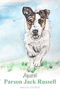 Zeichnung Aquarell nach Foto, Parson Jack Russell Terrier, Aram und Abra, Kunst, Illustration, Hund, Blog, Hundeblog