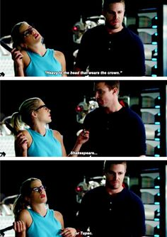 """""""'Heavy is the head that wears the crown'. Shakespeare... or Tupac"""" - Felicity and Oliver #Arrow"""