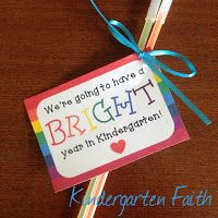 Freebie!! Back to School gift tags. Preschool, Kindergarten, First Grade, Second Grade. Kindergarten Faith