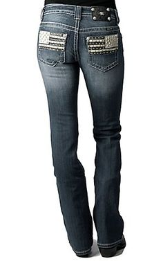 Miss Me® Ladies Cream & Black Leather Flag w/ Crystals Boot Cut Jean   Cavender's Boot City