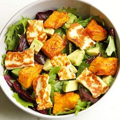 pumpkin, haloumi and avocado salad Gone are the days of bland and boring salads! This pumpkin, halloumi and avocado salad makes for a perfect weeknight dinner - minimal effort, maximum taste. Avocado Dessert, Avocado Salad Recipes, Salad Recipes For Dinner, Healthy Salad Recipes, Vegetarian Recipes, Cooking Recipes, Halloumi Salad Recipes, Feta Salad, Sausage Recipes
