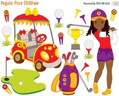 70% OFF SALE Golf Clipart - Digital Vector Golf, African American Girl, Golfer, Golf Ball, Golf Clip Art #clipart #vector #illustration #thecreativemill