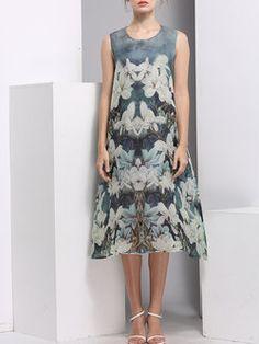 Gray Printed Sleeveless Crew Neck Midi Dress