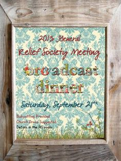 Didi @ Relief Society: 2013 General Relief Society Meeting - Poster and Card