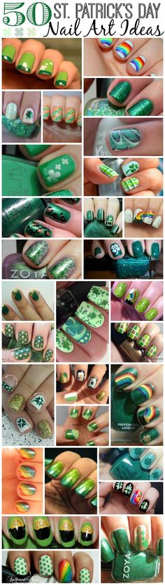 50 St. Patrick's Day Nail Art Ideas. Love the shamrock nails! Holiday Nail Designs, Holiday Nail Art, Cool Nail Designs, Irish Nail Designs, Rainbow Nail Art Designs, Green Nail Designs, Nails Inc, Diy Nails, Green Nail Art