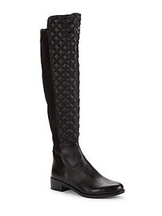 9a184ad5c57 Vince Camuto Justina Quilted Leather Boots - Black - Size 12 Black Leather  Boots