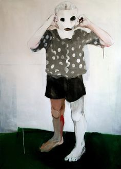"Saatchi Online Artist: Hanna Ilczyszyn; Acrylic, Painting ""Boy with a mask"""