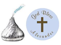 108 PRINTED Baptism Christening or First Communion Hershey Kiss labels -  Blue Boy Stickers