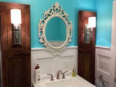 Baroque Mirror, Bathroom Mirror, Ornate Shabby Cottage Chic Mirror, Ivory Antique White Distressed Mirror, Vintage Style Wall Hanging by FarmHouseFare on Etsy https://www.etsy.com/listing/201223803/baroque-mirror-bathroom-mirror-ornate