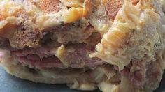 Corned beef, sauerkraut, and thousand island dressing cover frozen pierogies in this quick and easy dish.