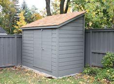 Image result for Narrow Side Yard Storage Sheds